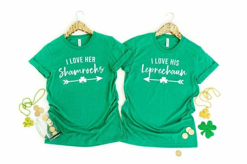 I Love Her Shamrocks - I Love His Leprechaun Funny St Patrick's Day Couple Shirt, Happy St Patrick's Day, Irish Lucky Shamrock Shirt