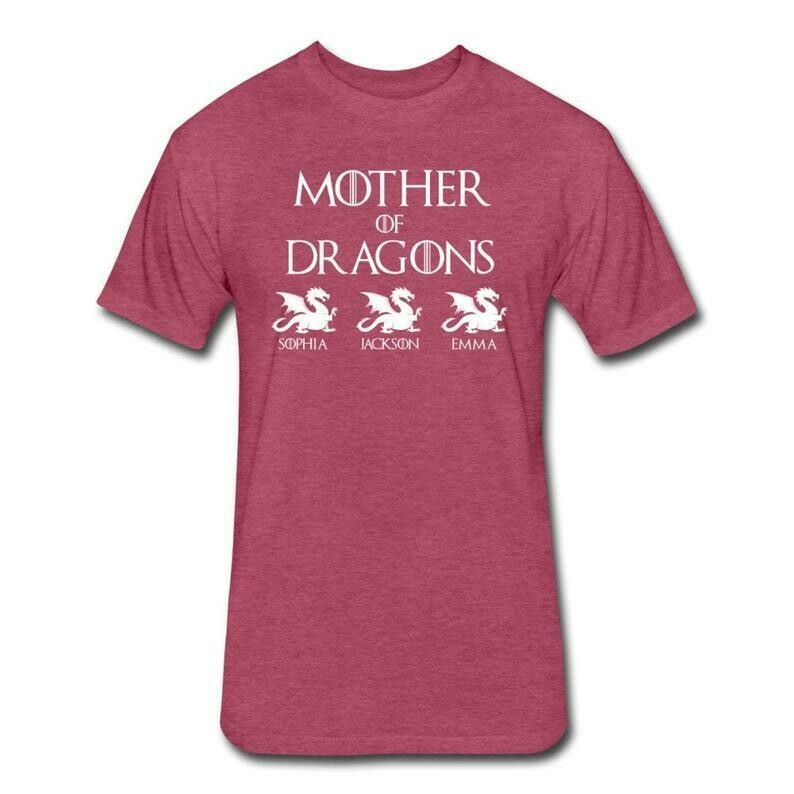 Personalized Mother of Dragons Shirt With Children's Names - Customized Mothers Day Shirt Kids Names - Custom Mothers Day Gift for Mom