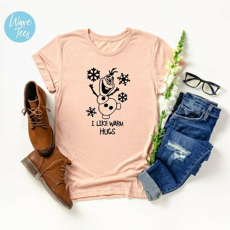 Frozen Shirts, I like Warm Hugs Tshirt, Cartoon, Olaf T-shirt, Disney Movie Shirt, Shirts for Women, Kids, Gift