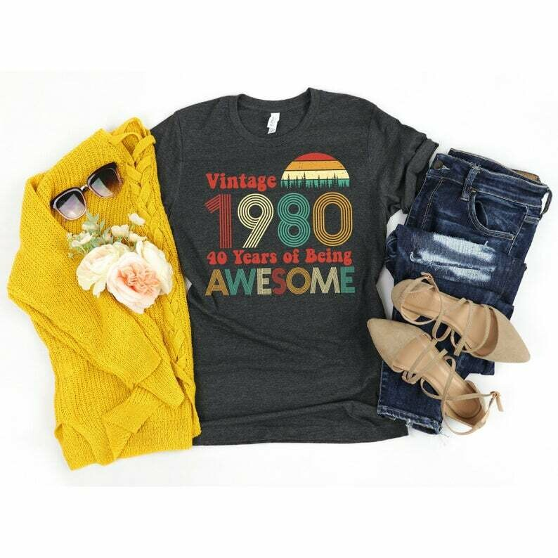 40th Birthday Gifts for Women, 40th Birthday Shirt Women, Vintage 1980 Shirt, Forty AF, Gifts for Men, Party Tee, 40 Years of Being Awesome