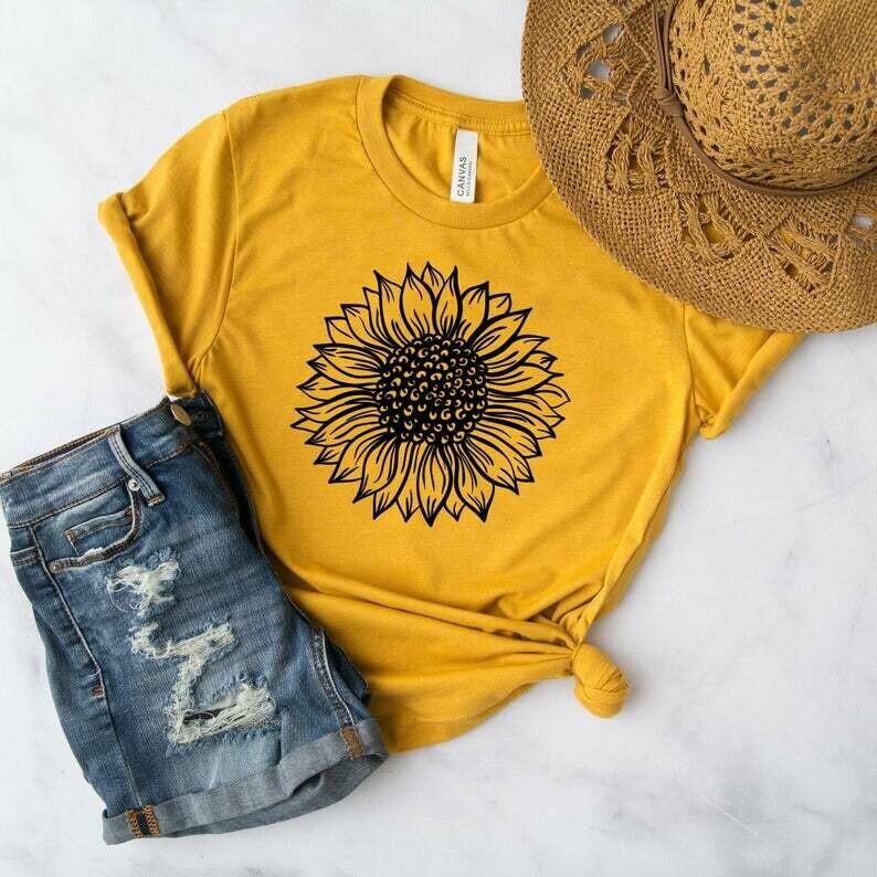 Sunflower Shirt - Floral Shirts - Boho Clothing - Hippie Shirts - Fall TShirts For Women - Cute Festival Shirt - Unisex Graphic Tee