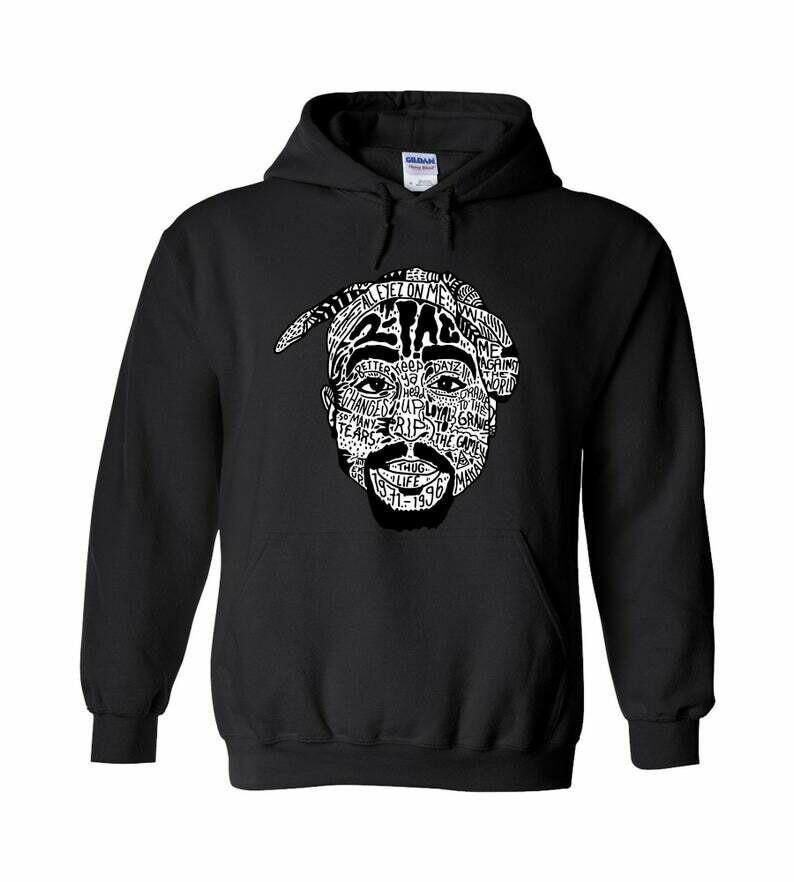 2Pac Thug Life Hoodie, 2 Pac All Eyez On Me Hoodie, Tupac Shakur Shirt, Tupac Hoodie, Hip Hop Clothing for Women, Unisex Tupac Shakur Hoodie