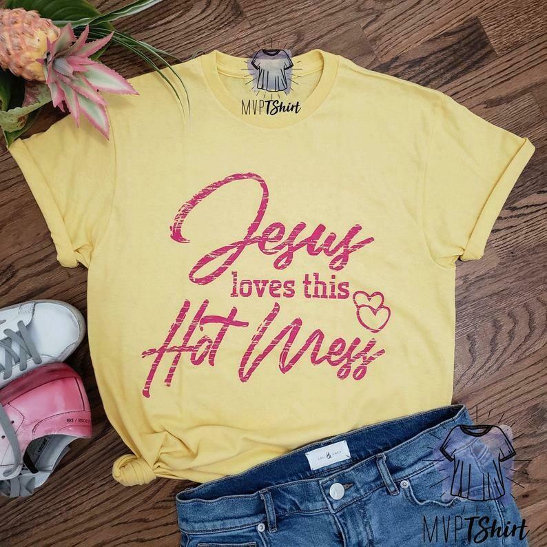 Christian Shirt-Jesus Loves This Hot Mess Shirt-Funny Christian Gift Shirt-Sarcasm Shirt-Gift For Her-Jesus Tee-Faith Tee-Christian Clothing