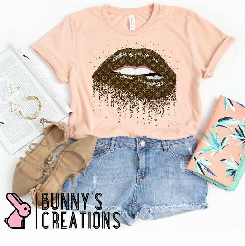 Glitter dripping lips/louis lips/lips shirt/fashion shirt/Womens Graphic Tee/Unisex sizing