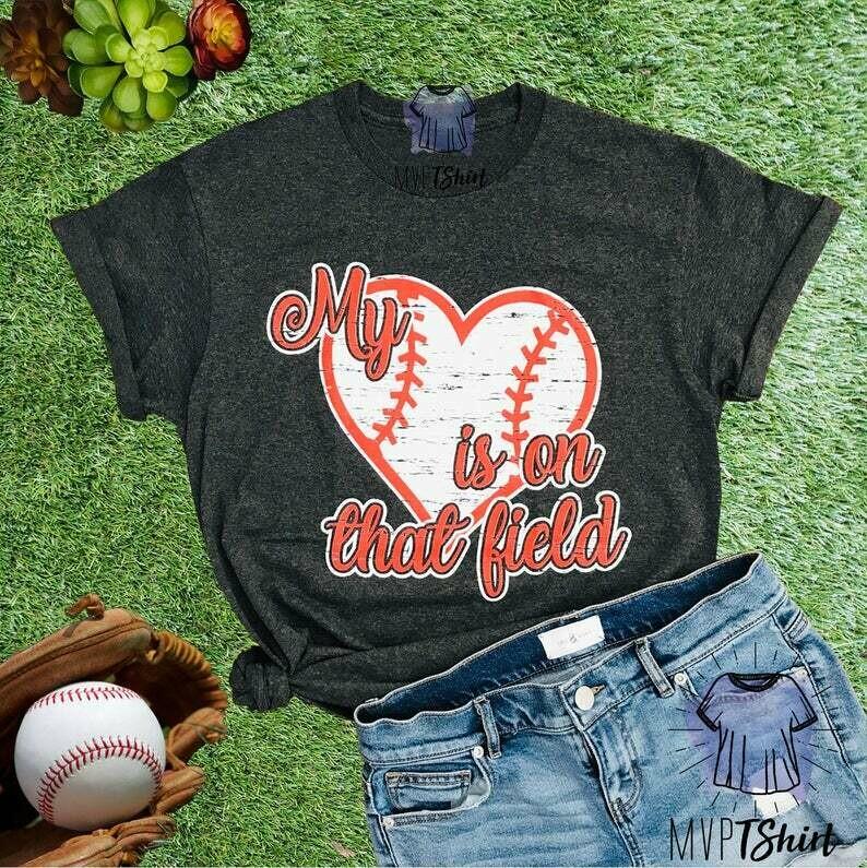My Heart is on that Field Baseball Mom Shirt, Unisex Crew Neck Shirt, Women Graphic Baseball Tee, Baseball Mom Top