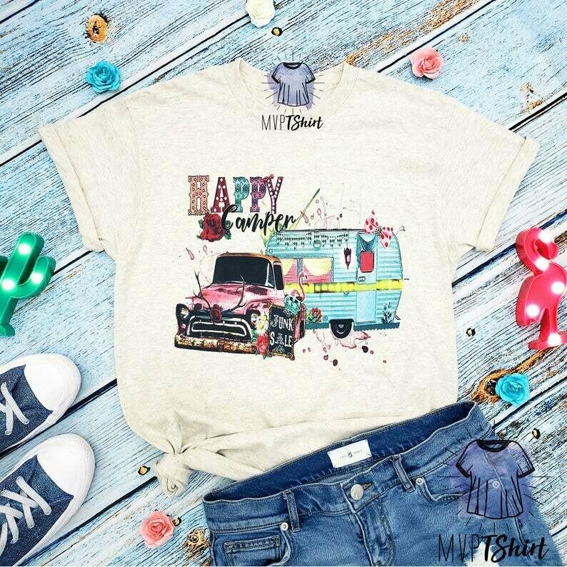 Happy Camper Shirt-Camping Shirt-Women Hiking Outdoor Shirt-Road Trip Shirt-Camper Tee-Nature Lover Gift-Cute Adventure Shirt-Glamping Shirt