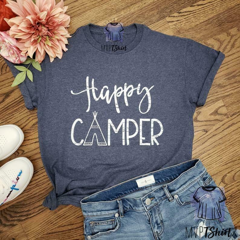 Camping Shirt-Happy Camper T Shirt-Camping Buddies-Women Graphic T Shirt-Hiking Gift Shirt-Unisex Clothing-Nature Lover Gift-Adventure Shirt