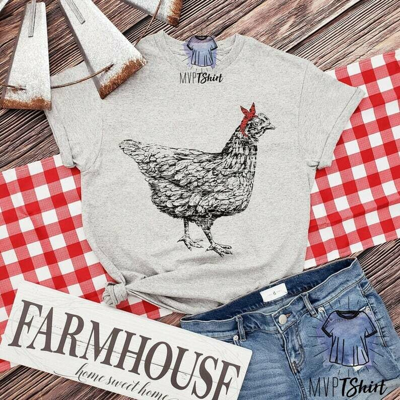 Chicken Hen Bandana Shirt, Funny Tee, Farm Animal Tee, Women Graphic Tee, Chicken Tee, Vintage Farm Tee, Poultry Farm Tee, Chicken Lover Tee