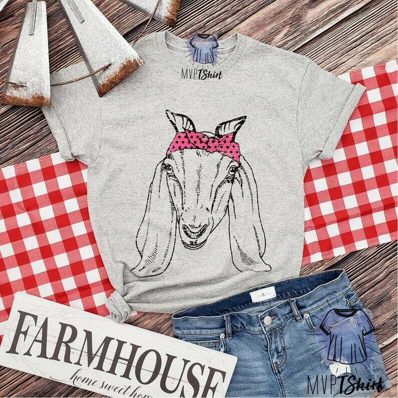 Bandanna Goat Farm Animal T Shirt, Women Graphic Shirt, Cute Goat Girl Shirt, Southern Tee, Vintage Farm Shirt, Country Girl Shirt, Goat Tee