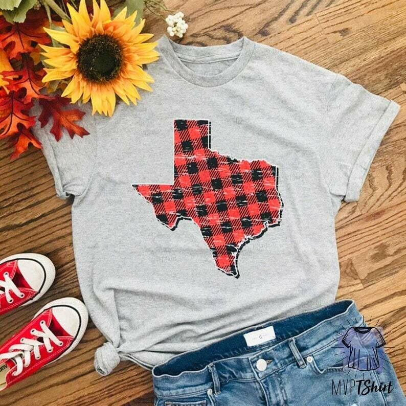 Texas Map Plaid Vintage Shirts-Holiday Buffalo Plaid Shirts-Holiday Shirts-Gift for Texas Lover-Shirts with Sayings-Buffalo Plaid Map Shirts
