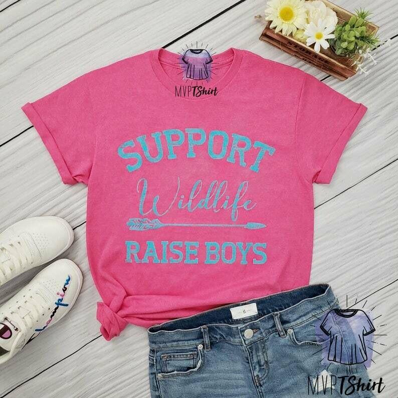 Support Wildlife Raise Boys Shirt, Shirts with Sayings, New Mom Shirt, Boy Mama Shirt, Funny Mom Shirt, Mother's Day Gift, Mom of Boys Shirt