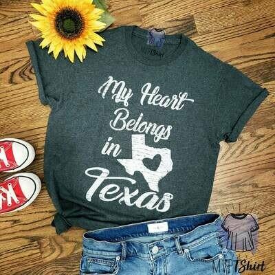 Texas Shirt-My Heart Belongs in Texas Map Shirt-Lone Star State Shirt-Texan Pride Souvenir Tee-Unisex Graphic Shirt-Moving Gift-Homesick Tee