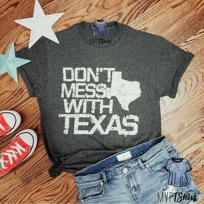 Texas Shirt-Don't Mess With Texas Vintage T Shirt-Distressed Graphic Tees-Texas Souvenir T Shirt-Texas Pride Shirt, Gifts for Texan