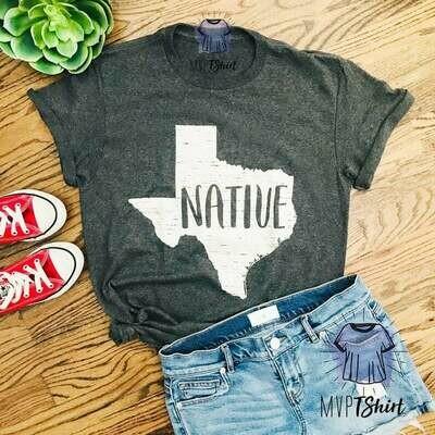 Texas Native State Map Shirt-Texas Souvenir Tee-Texas Pride Tee-Shirt with Saying-Moving Gift-Homesick Gift Tee-Texas Homeland Lover T Shirt
