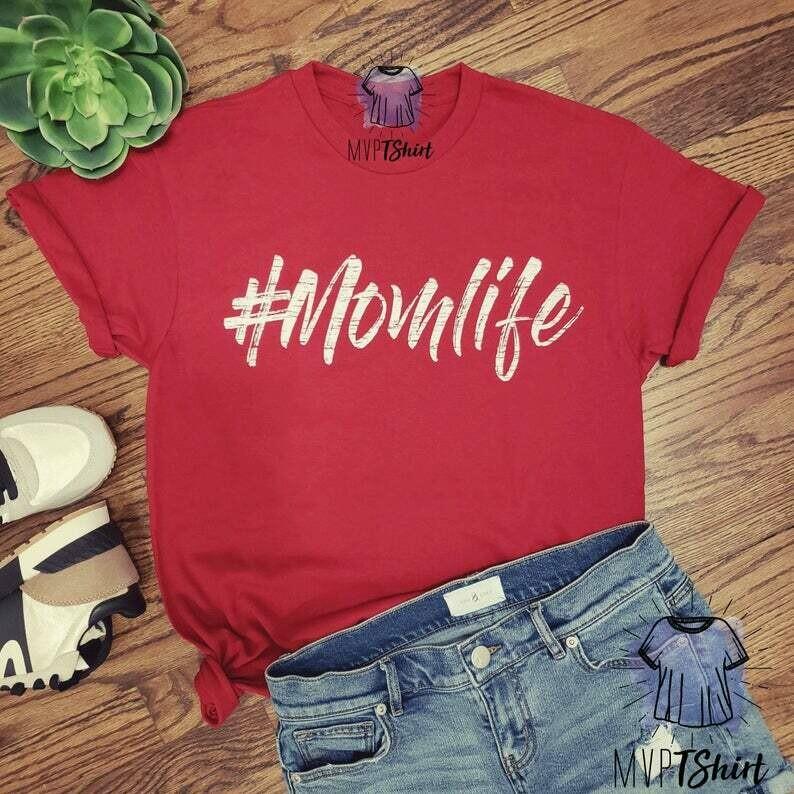 Motherhood #Momlife Preshrunk Cotton Shirt-Momlife-Shirts for Mom-Shirts with Saying-Funny Shirt for Women-Unisex Graphic Shirt-Gift for Mom