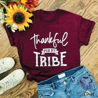 Thankful For My Tribe Shirt, Shirts with Sayings, Family Matching Tee, Thanksgiving T Shirt, Thankful for Family Shirt, Mom Tribe Shirt