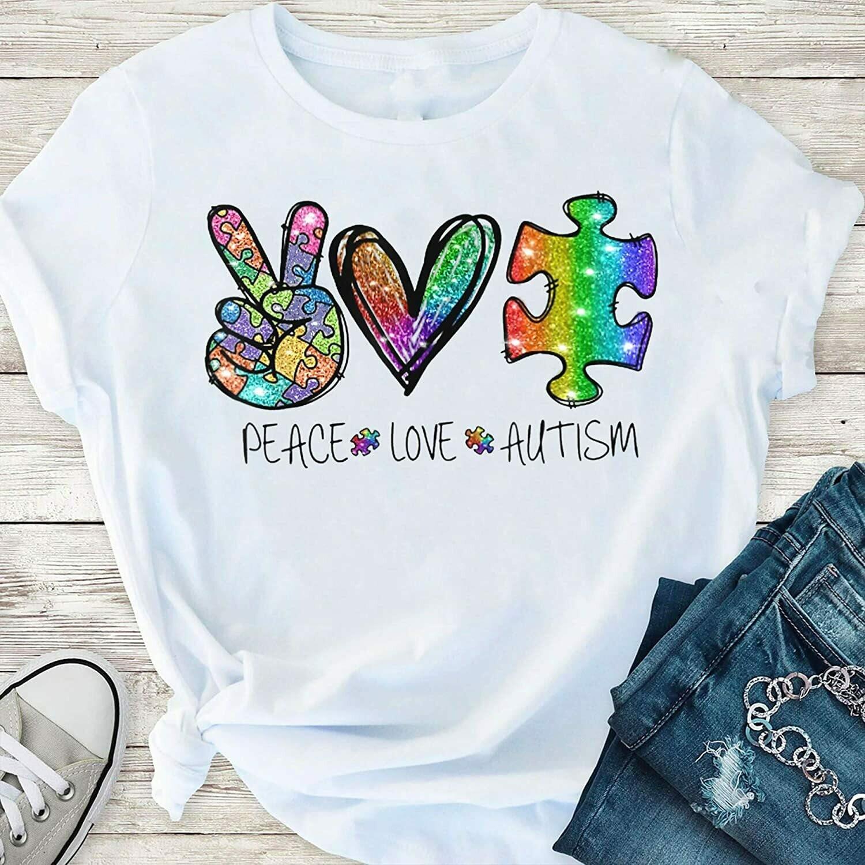 Costcotee Peace Love Autism Awareness Hippie Heart Autism Galaxy Unisex Shirt Short-Sleeve Long-Sleeve V-Neck Tank Hoodie Sweatshirt Men Women Tee Gift