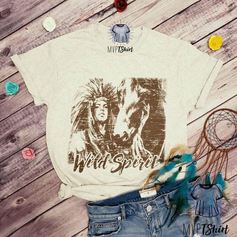 Costcotee Native Wild Spirit T-Shirt, Gypsy Soul, Free Spirit, Indian Headdress, Native American, Bohemian, Boho Shirt, Hippie Shirt, Wild Horse Shirt