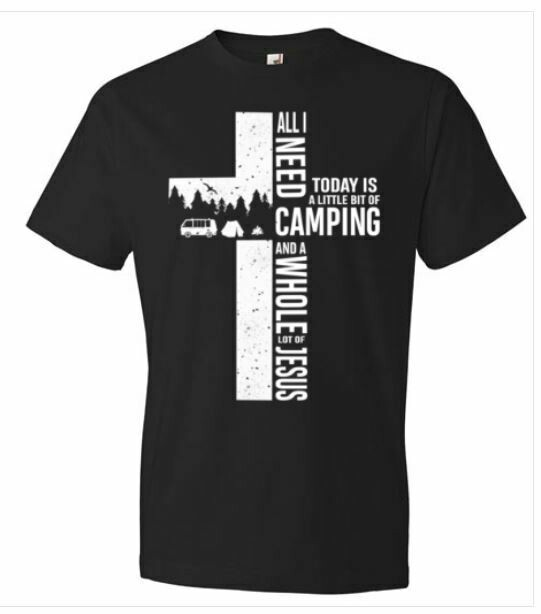 costcotee All I Need Today Is A Little Bit Of Camping And A Whole Lot Of Jesus T-Shirt Short-Sleeve Long-Sleeve V-Neck Tank Hoodie Sweatshirt Men Women Tee Gifts