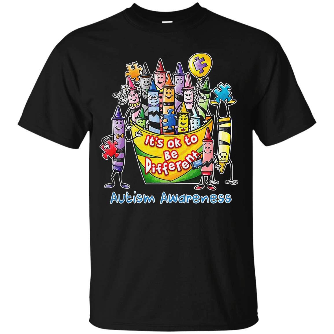 Costcotee Cool Autism Awareness Crayons It's Ok To Be Different Shirt Short-Sleeve Long-Sleeve V-Neck Tank Hoodie Sweatshirt Men Women Tee Gift