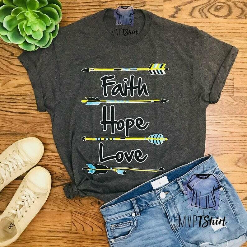 Costcotee Faith Hope Love Feather Arrow Shirt-Shirts with Sayings-Boho Graphic Tee-Bohemian Shirt-Christian Tee-Inspiring Religious Gift-Statement Tee