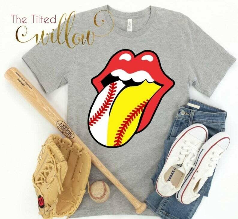Costcotee Half Baseball Softball LIPS AND TONGUE Design Shirt - Baseball and Softball Shirt ~ Baseball Mom Tee ~ Baseball shirts ~ Baseball Mom
