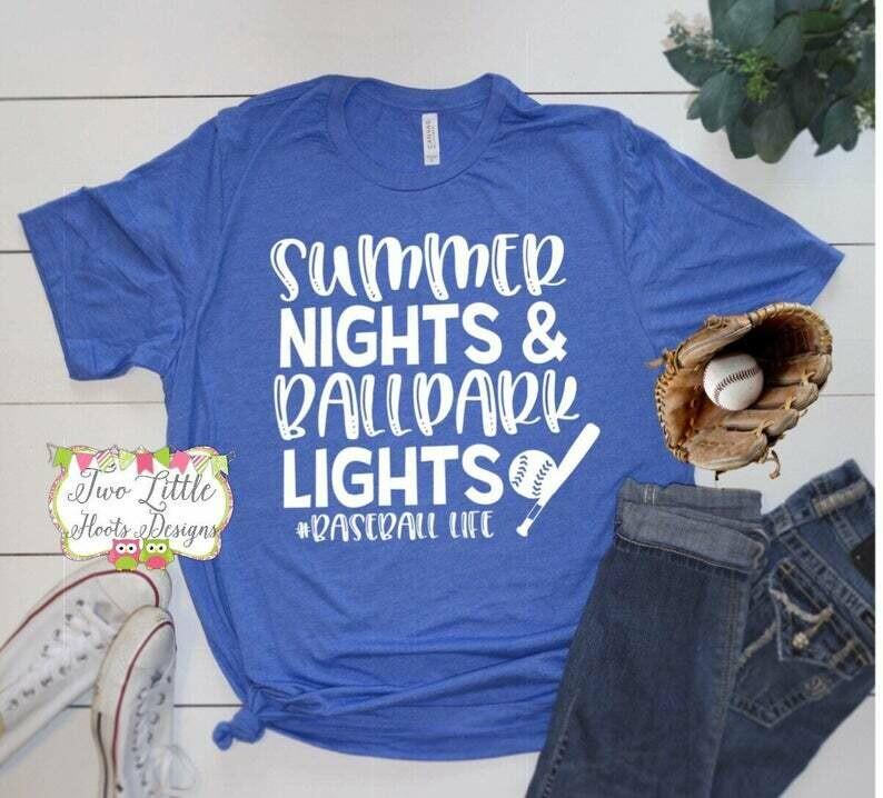 Costcotee Summer Nights and Ballpark Lights Shirt - Baseball Shirt ~ Baseball Mom Tee ~ Baseball shirts ~ Baseball Mom Shirts ~ Grundage Baseball