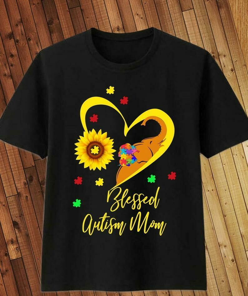 Costcotee Sunflower Elephant Blessed Autism Mom Autism Awareness T-Shirt Gifts for Mama Mommy Mothers