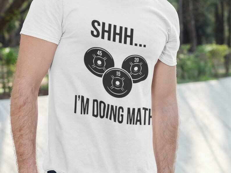 Costcotee Shhh I'm Doing Math Shirt, Bodybuilding Shirts, Bodybuilder Gifts, Weightlifter Gifts, Gym Workout Planner, Funny Workout Shirts