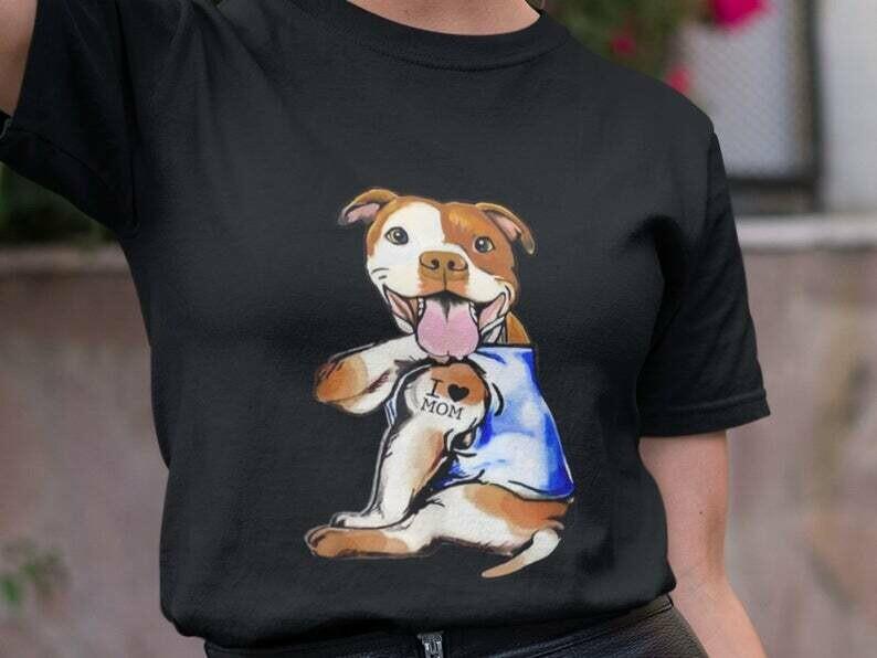 Costcotee Pitbull Tattoo Shirt, Pitbull Shirt, Pitbull Dog Shirt, Pitbull Face, Pitbull Vintage, I Love Pitbulls, Pitbull Mom Shirt, I Love My Dog