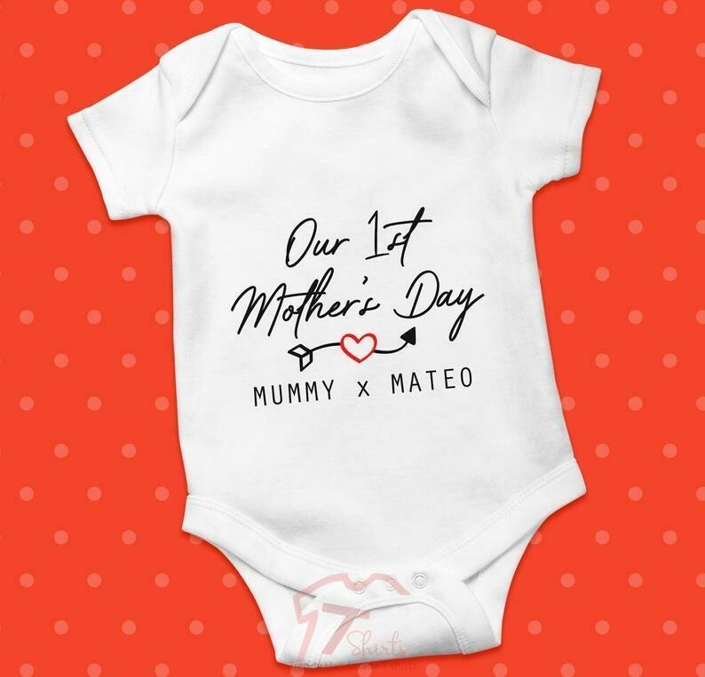 Costcotee Personalised Our First Mothers Day Baby Grow, Bodysuit, T Shirt, Onesie, Sleepsuit, Romper, 1st Mothers Day Gift, Mum, Mummy, New Mum