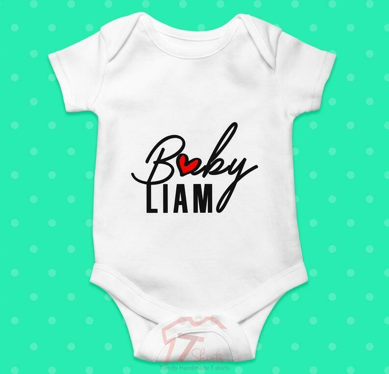 Costcotee Personalised Baby Name Baby Grow, Bodysuit, T Shirt, Onesie, Sleepsuit, Romper, Baby Shower / New Baby Gift, Pregnancy Announcement