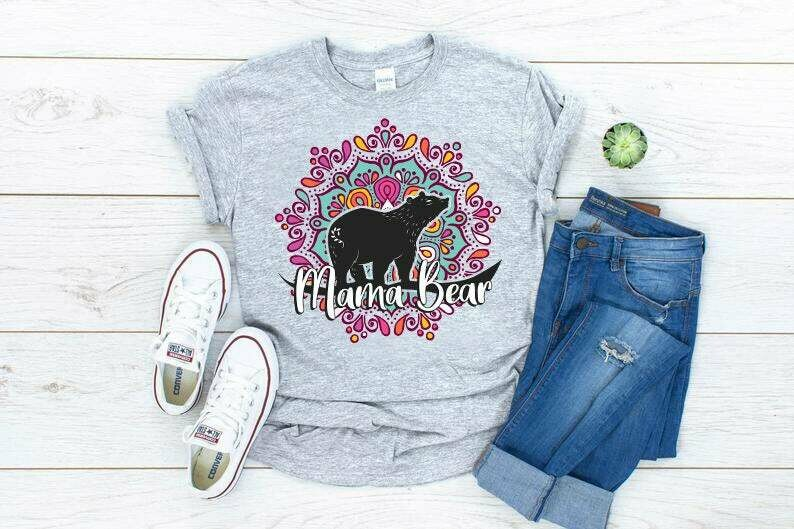 Costcotee Mama Bear Shirt For Mom : Mandala Shirt, Momma Bear, Mothers Day Gift, Mandala Boho Shirt, Womens Family Tee, Gift For Mother,Bear Mom Shirt