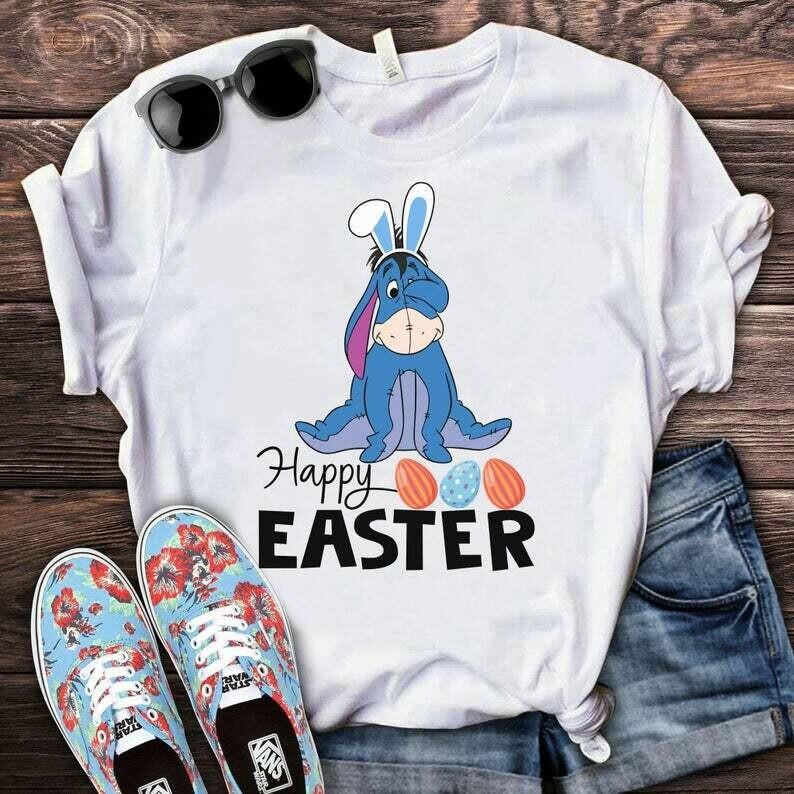Costcotee Eeyore Happy Easter Shirt, Disney Easter Egg Shirt, Eeyore Easter Shirt, Disney Spring Break Tee, Family Easter Shirt. Winnie The Pooh Tee