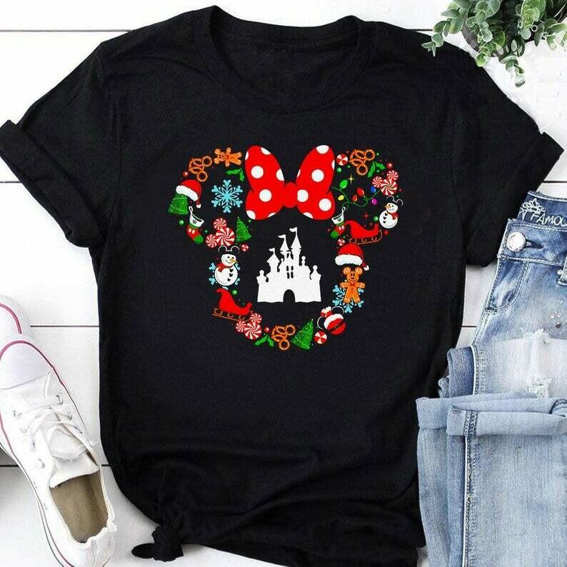 Costcotee Disney Christmas Shirt, Cute Christmas Disney Vacation Shirt, Christmas Gifts, Snowmen, Snowflake, Santa Hat, Reindeer, Minnie head shirt