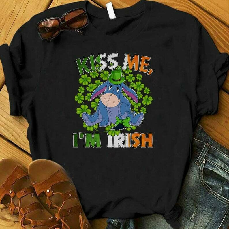 Costcotee Kiss Me I'm Irish Eeyore Shirt, St. Patrick's Day Pooh and Friend Shirt, Lucky Shirt, Shamrock Shirt, Disney Saint Patrick Day, Eeyore Shirt