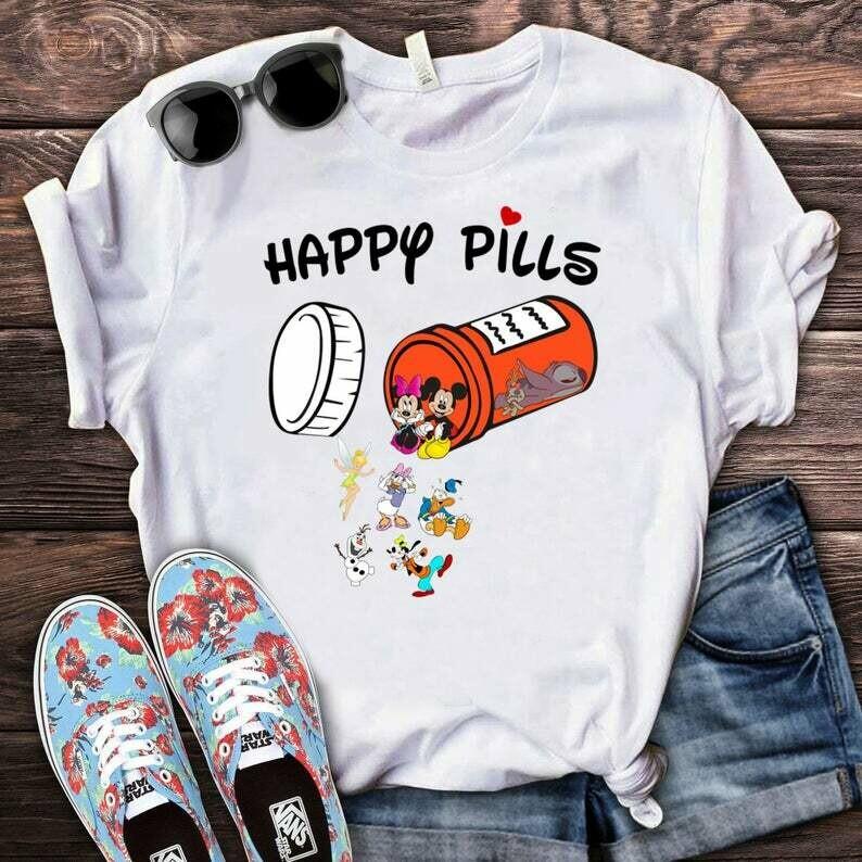 Costcotee Happy Pills Disney Shirt, Disney Inspired, Cute Disney Sweatshirt, Mickey, Minnie, Donald Duck, Olaf, Tinker Bell, Daisy Duck, Goofy, Stitch