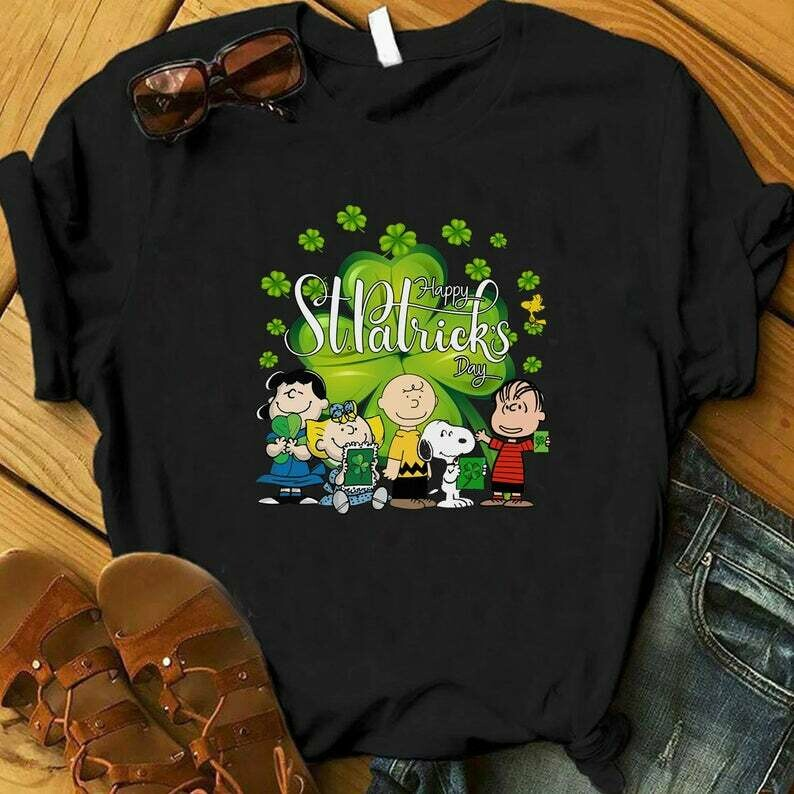 Costcotee Snoopy Happy St Patrick's Day Shirt, St Patricks Day Snoopy Shirt, Snoopy St Patricks Shirt, Woodstock, Charlie Brown, The Peanuts Movie