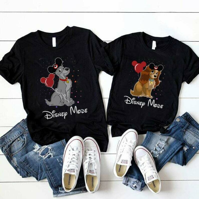 Costcotee Lady and The Tramp couples shirt, Lady and The Tramp Spaggetti shirts, Disney Matching Shirts, Disney Anniversary Outfit, Valentine Gift