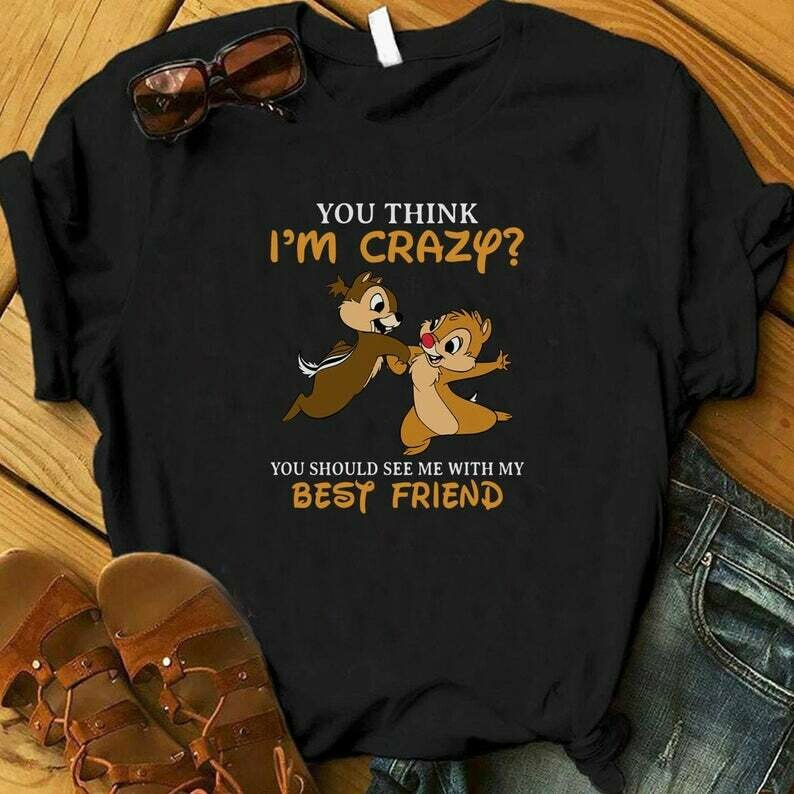 Costcotee You Think I'm Crazy You Should See Me With My Best Friend, Chip and Dale shirt, Disney Shirt, Best Friend Shirts, Besties Gift, Best Friend