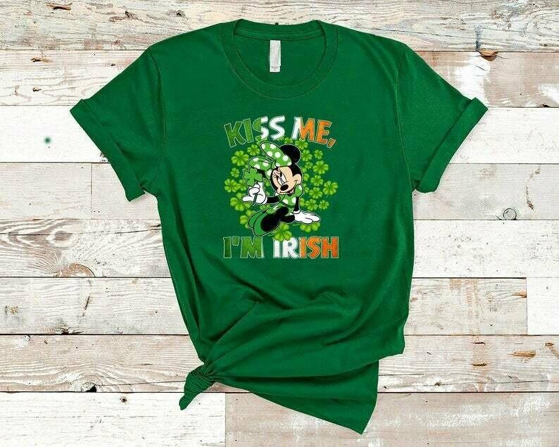 Costcotee Kiss Me I'm Irish Minnie Shirt, St. Patrick's Day Minnie Mouse Shirt, Minnie Ears, Lucky Shirt, Shamrock Shirt, St, Disney Saint Patrick Day