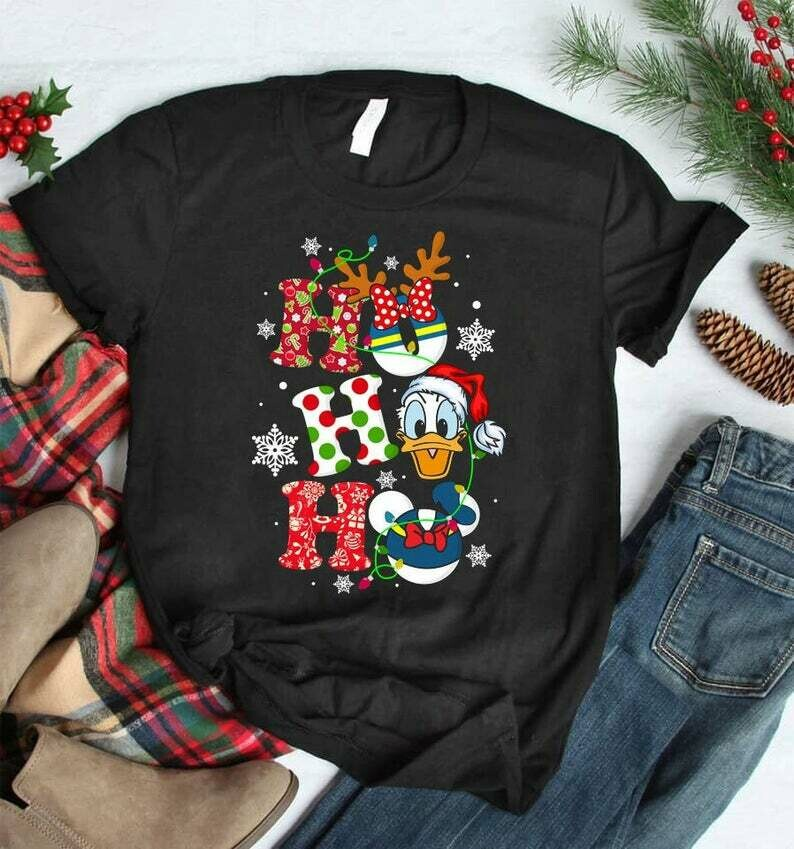 Costcotee HO HO HO Donald Duck Christmas Shirt, Cute Christmas Disney Sweatshirt, Hoodie, Christmas Gifts, Snowmen, Snowflake, Santa Hat, Reindeer