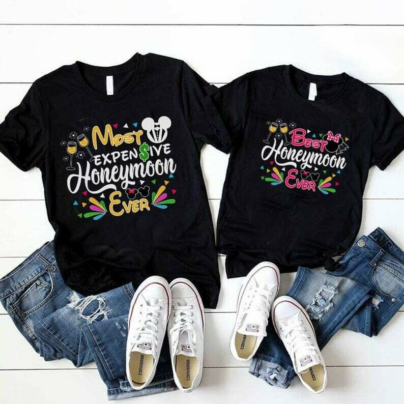 Costcotee Best Honeymoon Ever Disney Couple Shirt, Disney Just Married Shirt, Mickey and Minnie, Bride and Groom Disney Shirt, Mr and Mrs, Hubby Wifey