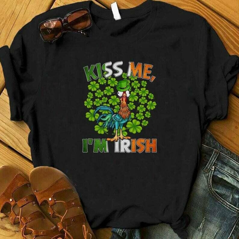 Costcotee Kiss Me I'm Irish Hei Hei Shirt, St. Patrick's Day Moana Shirt, Lucky Shirt, Shamrock Shirt, Disney Saint Patrick Day, Churro Shirts