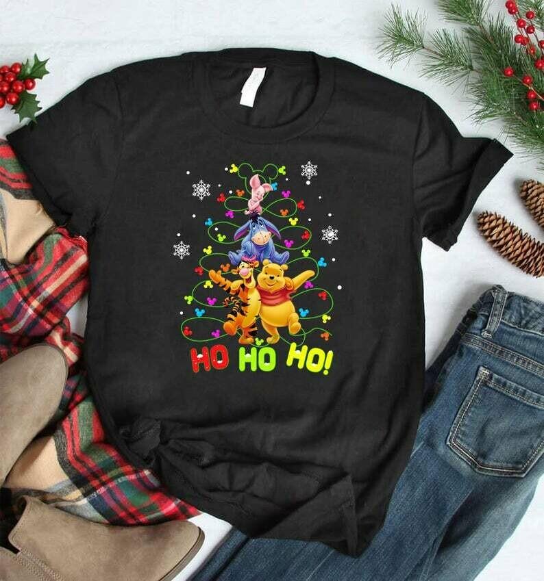 Costcotee HO HO HO Pooh and Friend Christmas Shirt, Christmas Disney sweatshirt, Christmas Gifts, Eeyore, Piglet, Tigger, Pooh, Christmas Hoodie