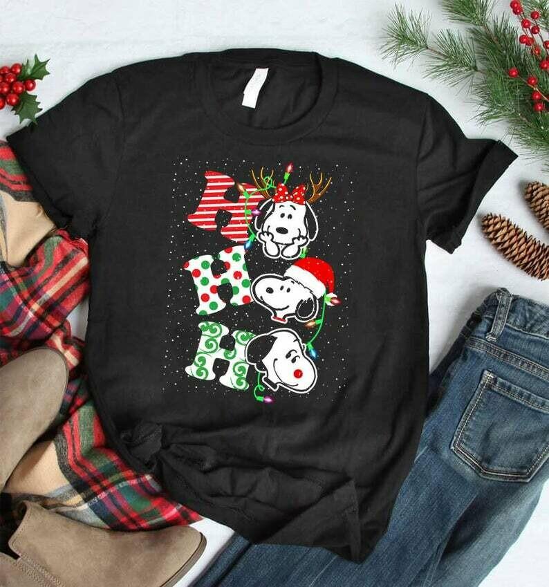 Costcotee HO HO HO Snoopy Christmas Shirt, Cute Christmas Disney Sweatshirt, Christmas Gifts, Snowmen, Snowflake, Charlie Brown, Peanuts Christmas