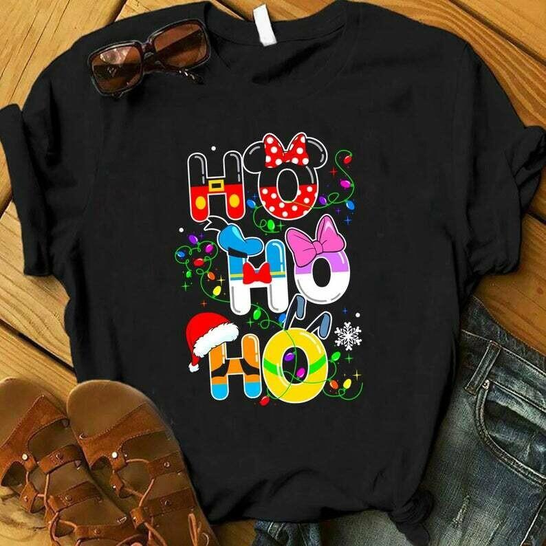 Costcotee HO HO HO Cute Disney Christmas Shirt, Cute Christmas Disney Vacation Shirt, Christmas Gifts, Snowmen, Snowflake, Santa Hat, Reindeer
