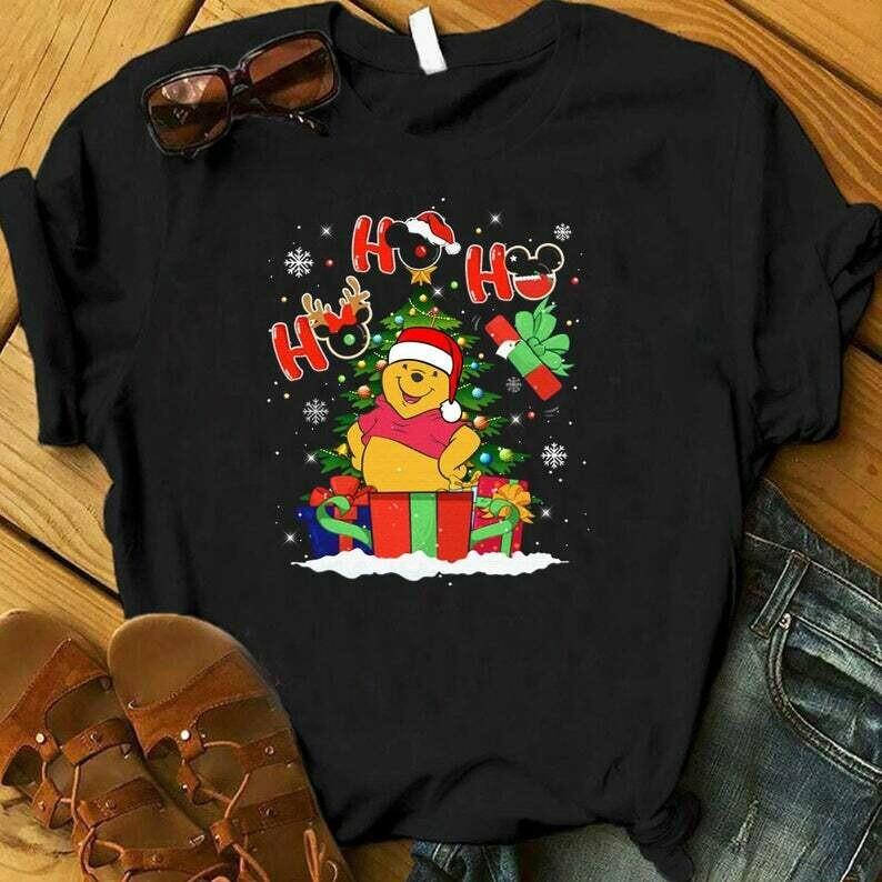 Costcotee HO HO HO Winnie The Pooh Christmas Shirt, Christmas Disney Vacation Shirt, Christmas Gifts, Snowmen, Snowflake, Reindeer, Winnie The Pooh
