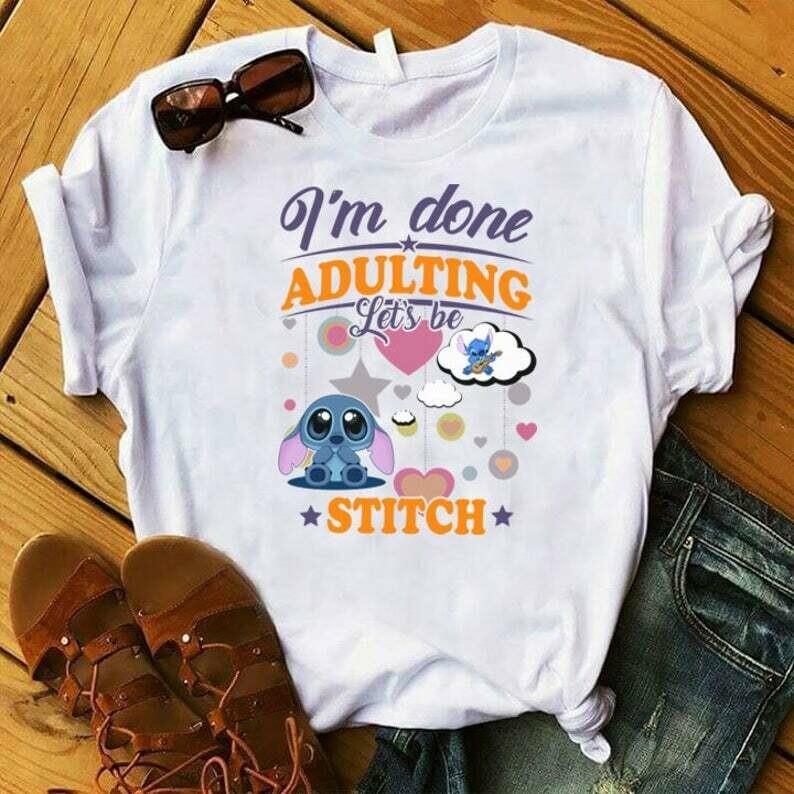 Costcotee I'm Done Adulting Let's Be Stitch, Funny Disney Shirts, Disney World, Disneyland, Disney matching shirts, Ohana Shirt, Lilo Stitch Shirt.