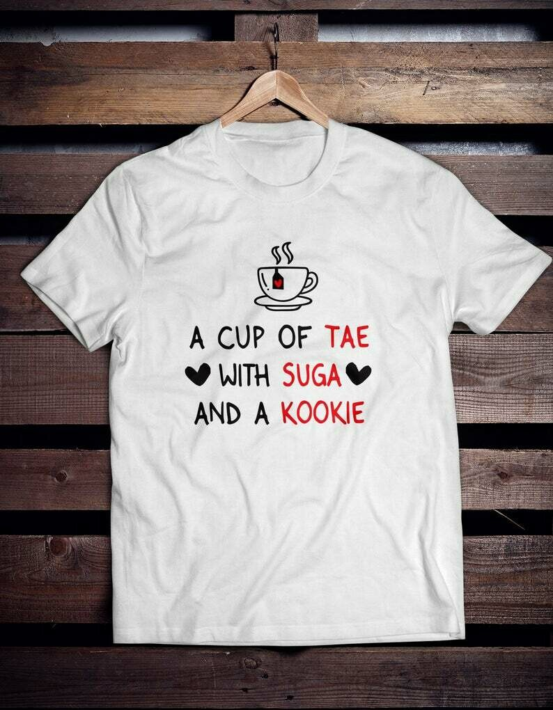 Costcotee a cup of tae with suga and kookie shirt bts t- shirt bts rose BTS Shirt, Bangtan Sonyeondan K-Pop Art Shirt k-pop shirt bts jersey